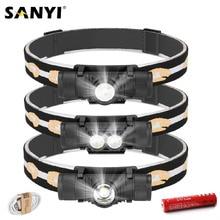 Sanyi-minilinterna Frontal LED para acampada, XM-L2, 6 modos, Cargador USB, 18650