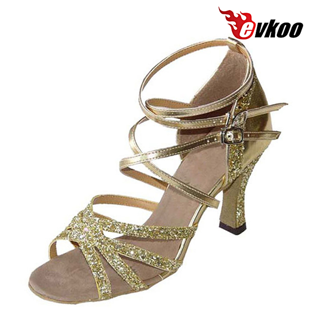 Evkoodance Black Golden Sliver Shiny With Pu Leather 7cm Heel Height High  Quality Woman Latin Dance Shoes Evkoo-129 c56f02d9b867