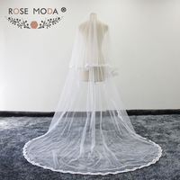 Rose Moda High Quality Custom Made Cathedral Bridal Veils with Lace Hem Two Layers Wedding Veils with Comb