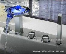 Küchenarmatur LED Wasserfall Wasserhahn Separaten Badewanne Wasserhahn Fünf-stück Badewanne Wasserhahn