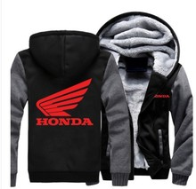 Winter Coat Red Printed Honda Motorcycle Jacket Zipper Hoodies Cashmere Sweatshirts Mens Thick Warm Cotton Jacket US  EU SIZE