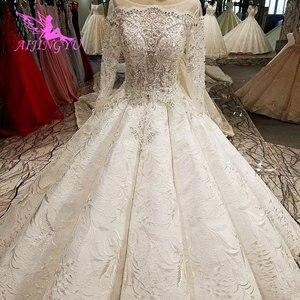 Image 3 - AIJINGYU pakistanlı gelinlik modelleri dikmek kristal boncuklar uygun elbise mağazaları gelinlik dantel