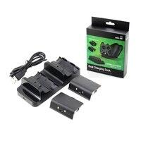Universele Dual Charging Dock Controller Charger + 2 stuks Oplaadbare Batterijen voor XBOX EEN Oplaadbare Batterij Stander