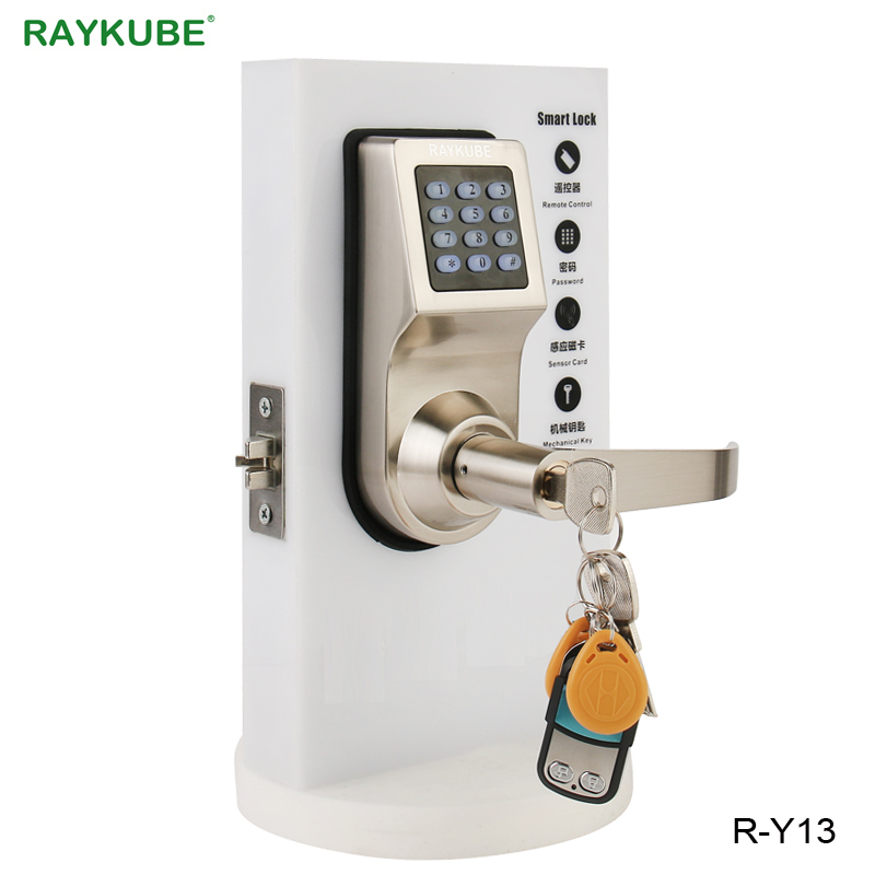 RAYKUBE Digital Electronic Door Lock With RFID Password Keypad Remote Control Unlocking Intelligent Lock For Wooden Door R-Y16