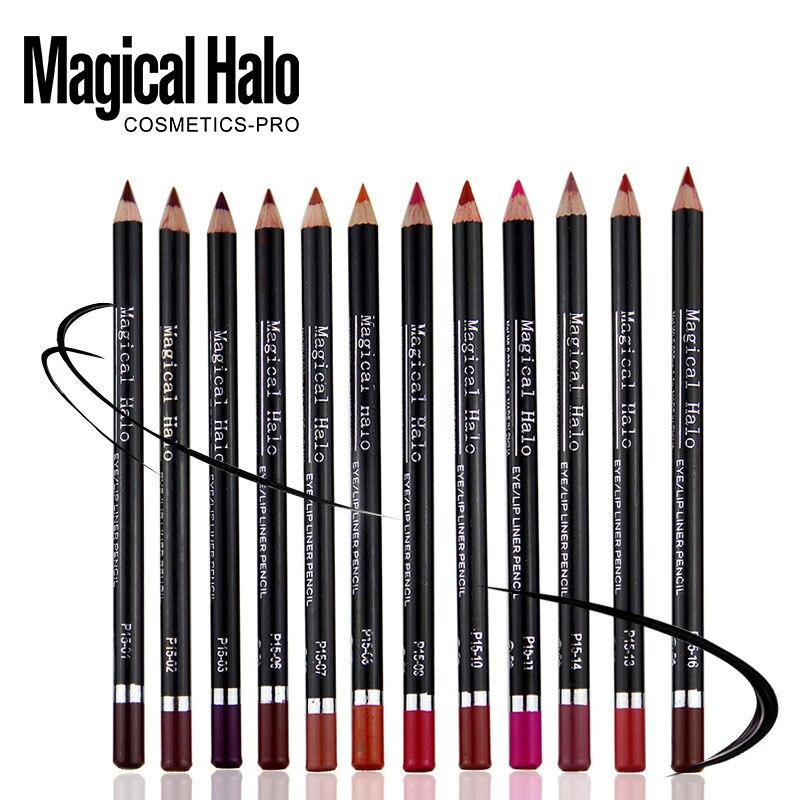 Magisk Halo 12 färger / låda Vattentät Professionell Lip Liner Pencil Långvarig multicolor Lipliner penna smink MH1505