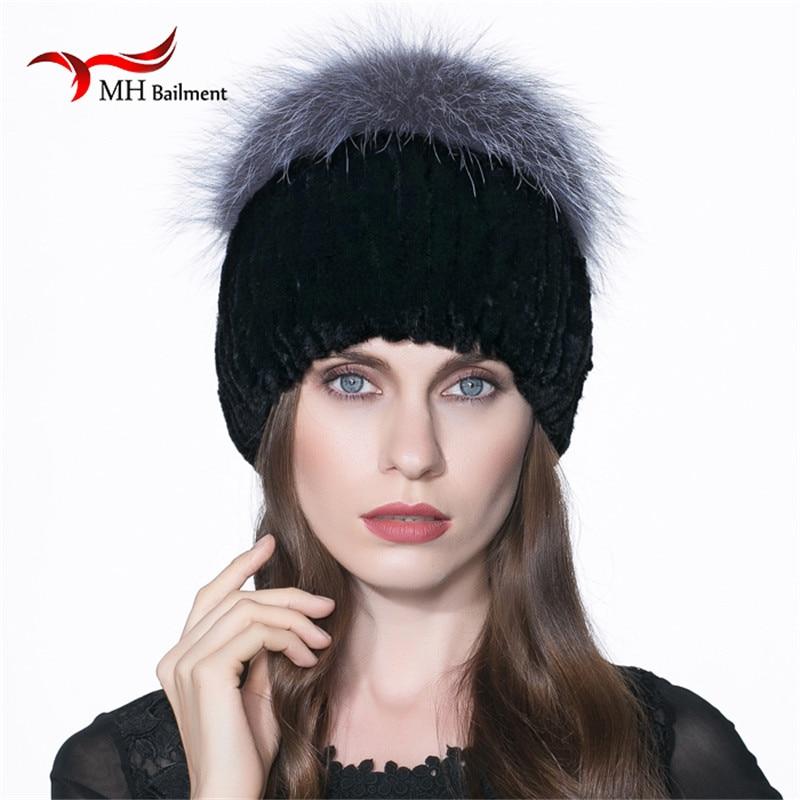 2017 visón invierno sombreros de piel de invierno Real de piel de visón  Invierno Caliente espesa mujer Real Mink sombrero moda negro H  56 24857d2b401
