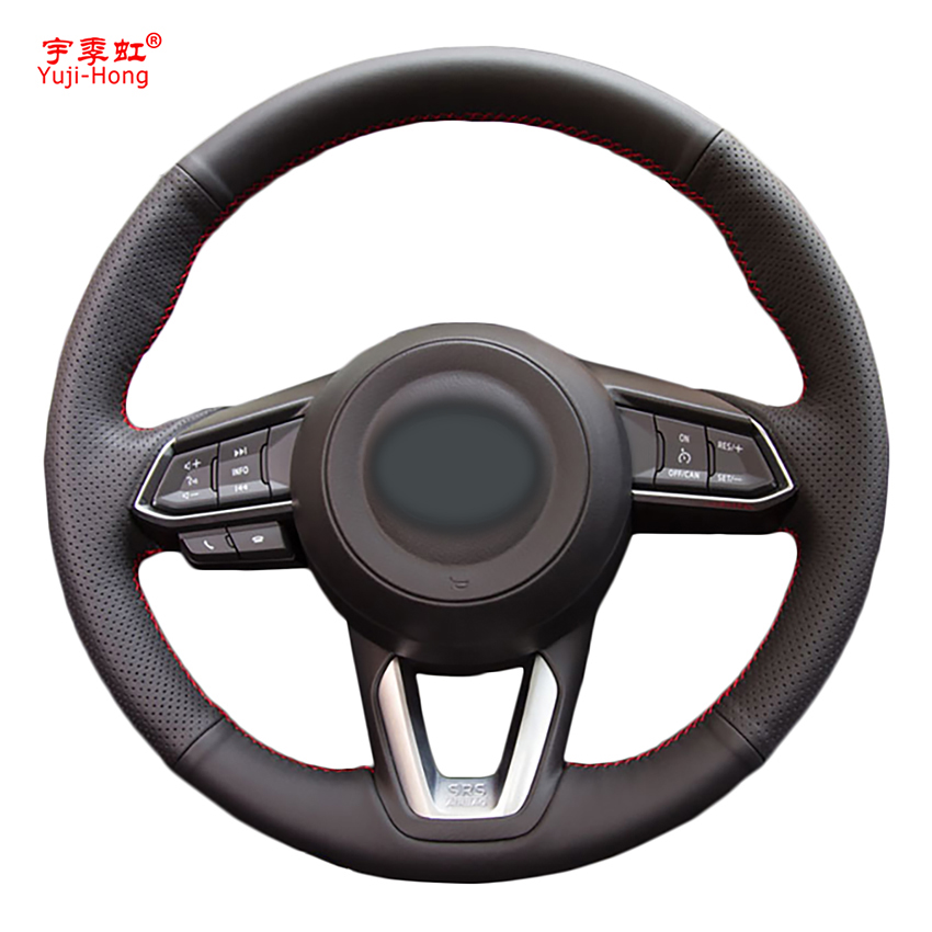 Yuji Hong Genuine Leather Car Steering Wheel Covers for Mazda 3 Axela Mazda 6 Atenza CX