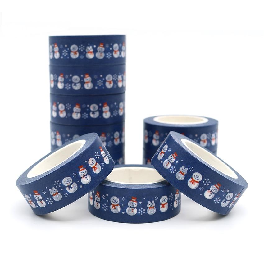 10m*15mm New Design Christmas Snowman Adhesive Washi Tape DIY Scrapbooking Masking Tape Cute Sticky Paper Tape 1 PCS