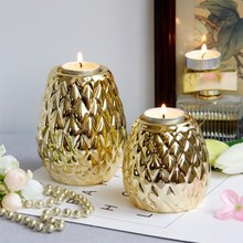 Luxury Plating Gold Silver Ceramic Candlestick Holder Candle Cup European Home Candlelight Dinner Decoration Ornaments