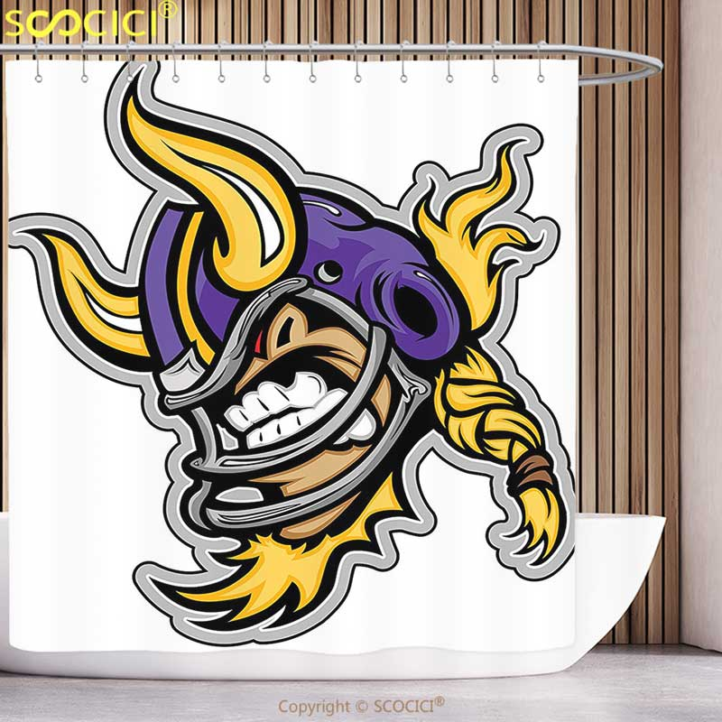 Waterproof Shower Curtain Sports Decor Collection Image of a Snarling American Football Viking Mascot with Horns on Helmet Print