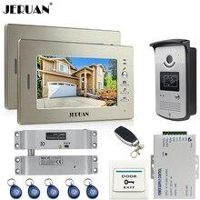 """JERUAN two 7"""" monitors LCD Video Intercom Video Door Phone Handsfree+access control system+700TVL Camera +Electric Bolt lock"""