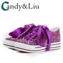 Women Sneakers Custom Pearls Colors Purple Ribbon Strap Thick Soled Shoes 3cm We
