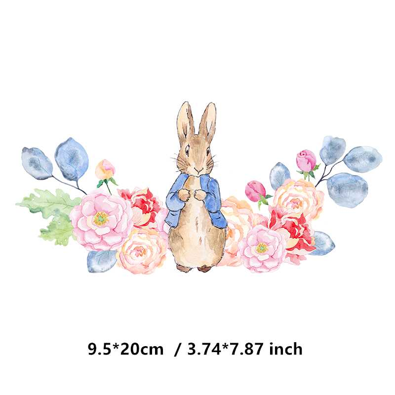 Cute Benny Rabbit Iron on Heat Transfer Printing Patches Sticker Washable For T-shirts Clothing DIY Stickers Appliques 2019