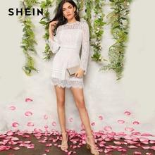 2019 春ジッパーフラウンス袖ミニドレスパーティードレス ロマンチックなトランペットスリーブフローラルレースオーバーレイドレス女性服 SHEIN