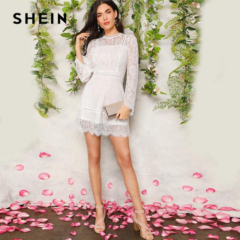 SHEIN Romantic Trumpet Sleeve Floral Lace Overlay Dress Women Clothes 2019 Spring Zipper Flounce Sleeve Mini Dress Party Dresses