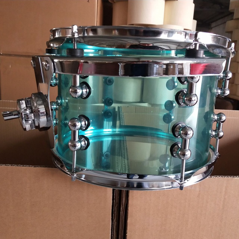 10 inch diameter X 8 inch depth acrylic snare drum with mounting bracket