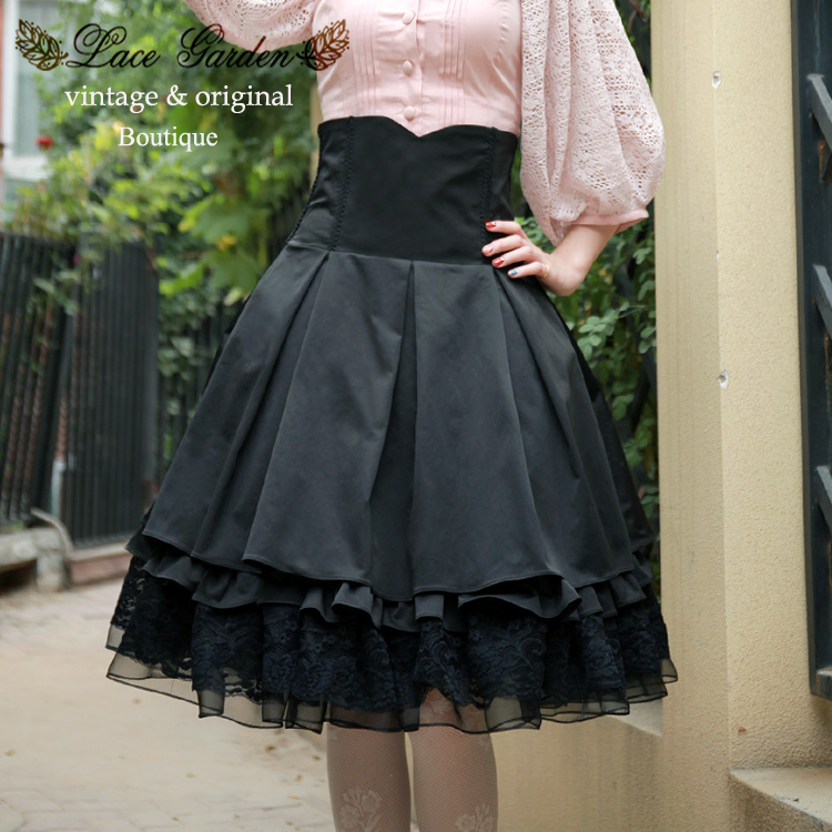 Vintage doux lolita jupe dentelle bandage taille haute victorienne jupe joint lombaire façonnage gothique lolita sk kawaii fille loli cosplay