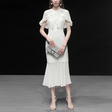 Seifrmann New 2019 Women Spring Summer Dress Runway Fashion Designer Gorgeous Embroidery Ruffles Elegant Casual Mermaid Dresses