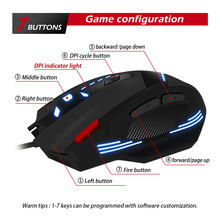 Wired Gaming Mouse 7 Button 7200 DPI LED Optical USB Computer Gamer Mice Game  For PC laptop ergonomic mouse