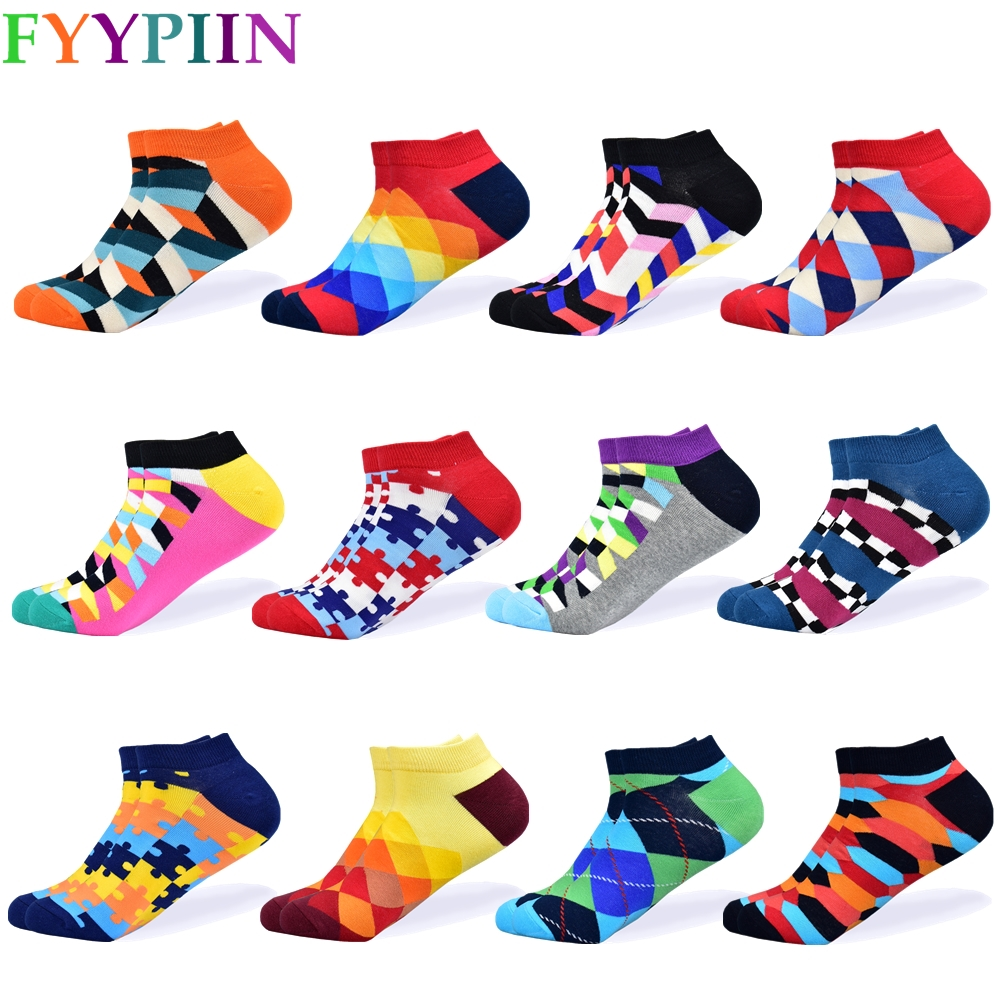 2019 Socks Men's Latest Design Boat Socks Short Summer Socks Quality Business Geometric Lattice Colorful Men's Cotton Socks