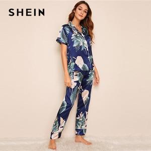 Image 3 - SHEIN Tropical Print Satin Pajamas for Women Casual Short Sleeve Pocket Sleepwear Summer Long Pants Lingerie Ladies Pajama set