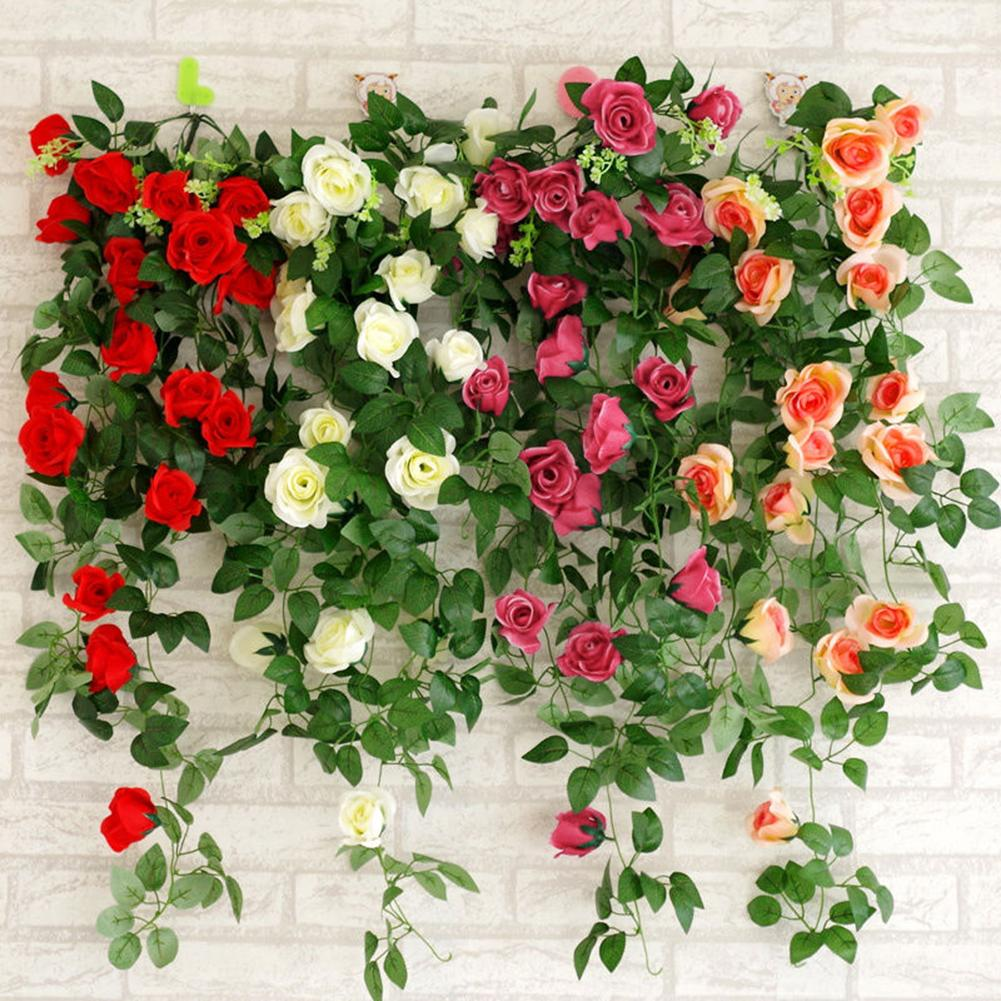 Artificial Rose Garland Flower Leaf Vine Home Wedding Garden Party Decor