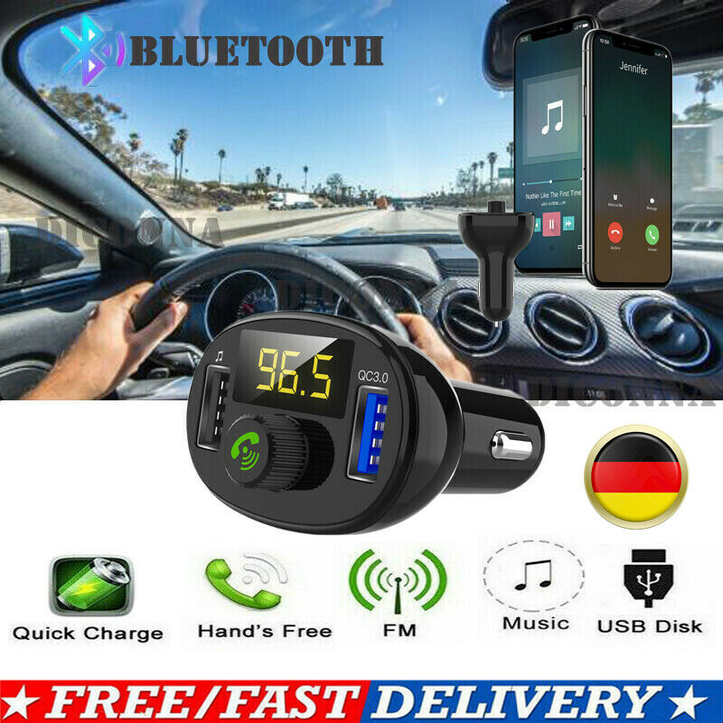 Bluetooth 4,2 Freisprecheinrichtung Wireless FM Transmitter MP3 USB-<font><b>Ladeger</b></font>ät image