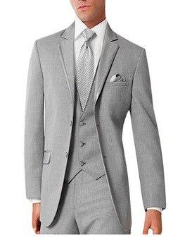 Gentleman Style Men's Business Three-piece Suit Notched Lapel Three Pockets Wedding /party /dinner Suits (jacket+pants+vest)