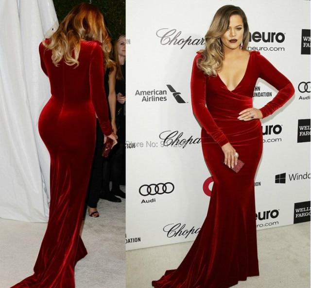Luxury Khloe Kardashian Oscar Party Burgundy Evening Dresses Gowns Long Sleeves New Mermaid Velvet Red Carpet