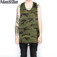 Man si Tun New Hip Hop Men's Exercise Clothes Sleeveless Camo Shirts Mens Clubwear Singlets Long Tank Top Camouflage Vest M