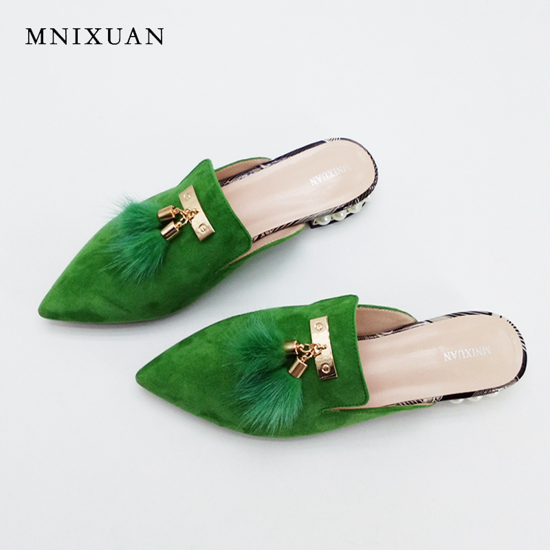 Women flat mules shoes pointed toe slides sandals big size 2017 summer genuine leather with fur pearls slip on shoes size 34-43 meotina brand design mules shoes 2017 women flats spring summer pointed toe kid suede flat shoes ladies slides black size 34 39