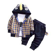 Autumn Baby Set Cartoon Tracksuit Children Boy Girl Cotton Zipper Jacket Pants 3Pcs/Sets Kids Leisure Sport Suit Infant Clothing