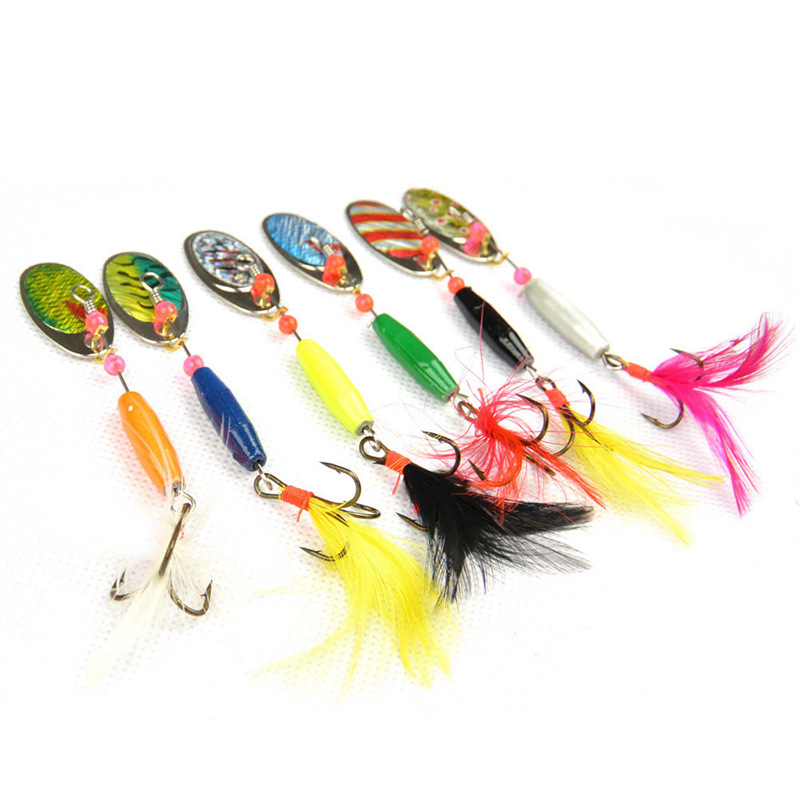 Metal Spinner Beads Sequins Fishing Lure Wobblers Artificial Spoon Hard Baits W/feather Treble Hook Fishing Tackle Tools Fishing