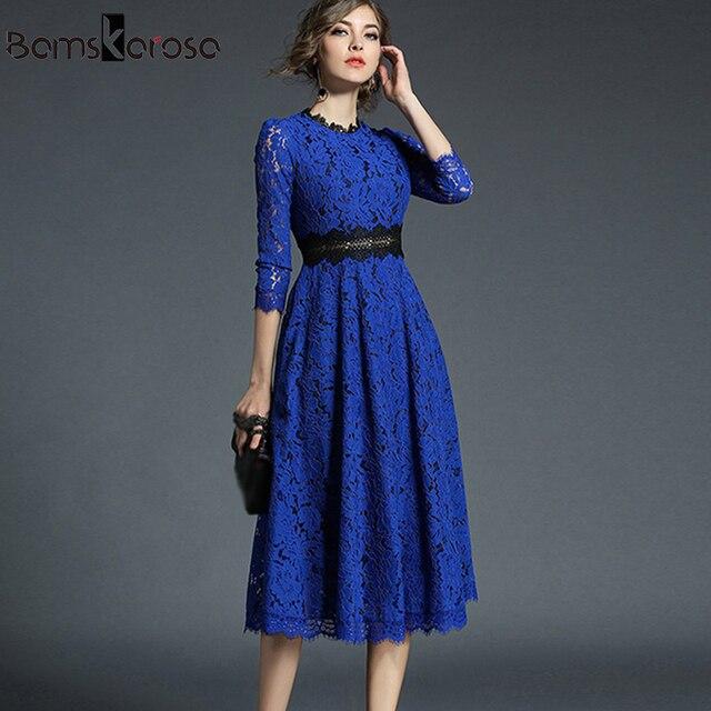 a5cc3e149 Vintage vestido de encaje azul ajustado elegante vestidos de fiesta para  mujer Crochet ahuecado largo vestidos