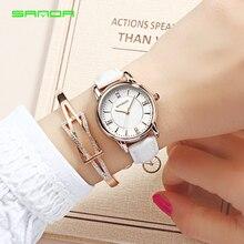 SANDA جديد أزياء العلامة التجارية ساعة نسائية جلدية فاخرة ساعة كوارتز 30 متر للماء ووتش امرأة Relogio Feminino