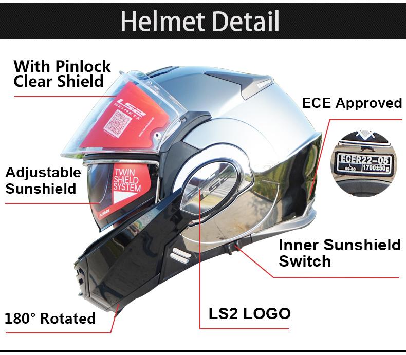 New Arrival Ls2 Ff399 Motorcycle Helmet Man Women Full Face Chrome