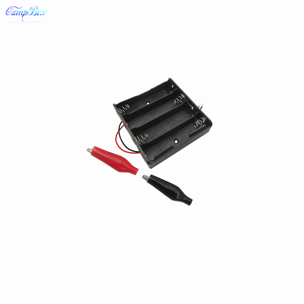 50Pcs 4x18650 Battery Case Holder Socket Wire Junction Box With 15cm Wires Black Red Crocodile Alligator