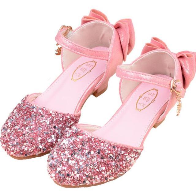 5a04c644b5 US $12.28 40% OFF SKHEK Girls Sandals Kids Shoes For Girls Princess Dress  Shoes Little High Heel Glitter Summer Party Wedding Sandal Children Shoe-in  ...