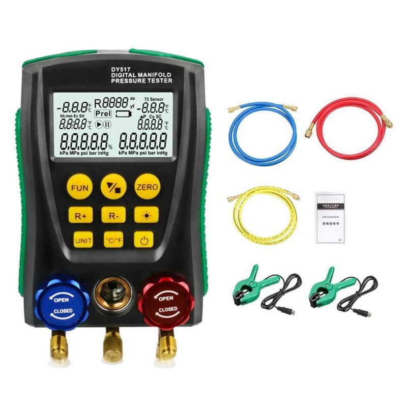 DY517 Pressure Gauge Refrigeration Digital Vacuum Pressure Manifold Tester Meter Temperature Tester 0 Kpa~6000 Kpa-in Pressure Gauges from Tools