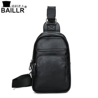 BAILLR Brand Men Small Travel Chest Pack Leather Men Messenger Bags Single Rucksack England Chest Bags