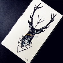 Self Adhesive Elk Temporary Tattoo Deer Xmas Reindeer Design Body Arm Tattoo Men Women HAQ-160 Fashion Moose Fake Tattoo Sticker