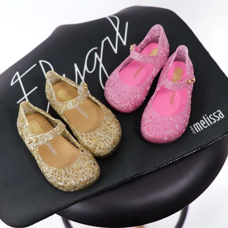 Mini Melissa Original Crystal Shoes New Children Mesh Hole Shoes Girl Jelly Sandals Kids Sandals Children Beach Shoes Non-slip