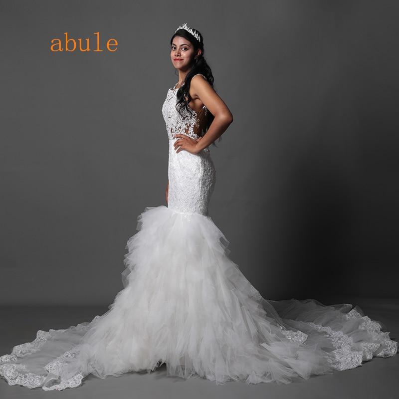 Abule long Train Ruffles sirena vestidos de novia Sheer Lace Ilusión - Vestidos de novia