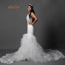 abule panjang keretapi ruffles gaun pengantin Mermaid renda palsu Illusion belakang gaun pengantin untuk gaun perkahwinan wanita vestido de noiva