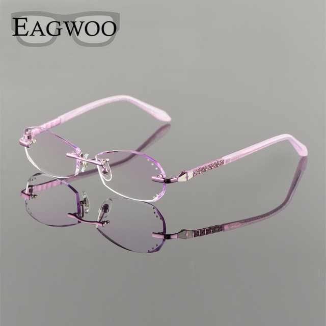 3f082ef199 Metal Alloy Eyeglasses Women Rimless Prescription Reading Myopia Color MR-8  Diamond Glasses Frameless Crystal Spectacle 20001