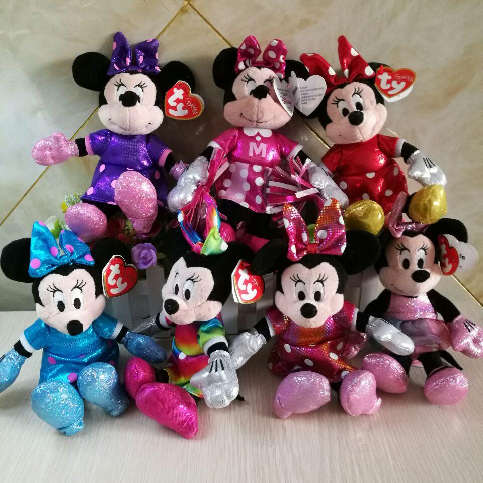 MINNIE mouse Mickey sparkle rainbow ballerina sparkle teal tie dye red minnie 20CM plush Toys soft toys kids toys collection стоимость