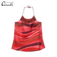 [Дефект] натуральный шелк Женский камзол, висящий на шее жилет, шнуровка, камзол, регулируемая длина, красная полоса, модная дамская комбинация
