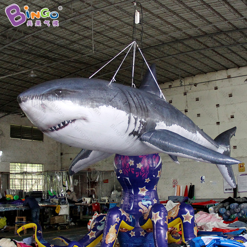 Free shipping 16ft giant inflatable shark for ocean theme party decoration customized air shark balloon toy shark model for sale mr froger carcharodon megalodon model giant tooth shark sphyrna aquatic creatures wild animals zoo modeling plastic sea lift toy
