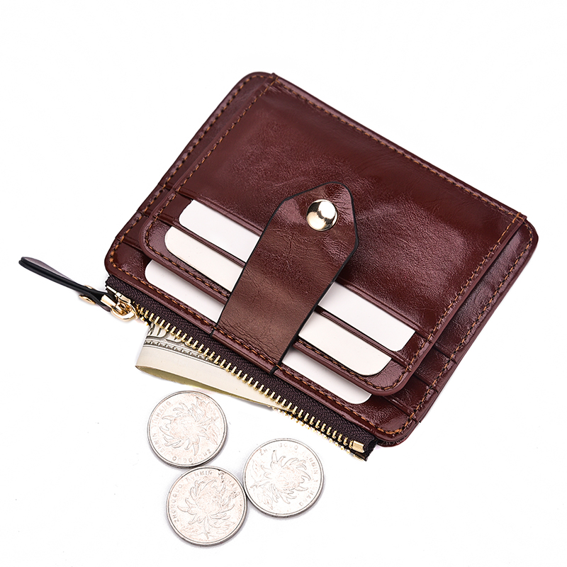 New Arrival Short Men's Wallet Vintage Oil Wax Pu Leather Zipper Thin Card Purse Small Fashion Causal Coin Wallet For Male