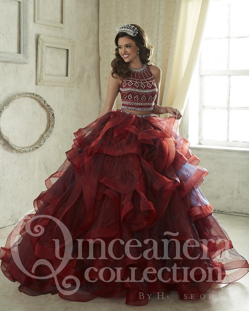 Gorgeous Tiered Maroon Quinceanera Dresses 2017 Crystal Beading ...